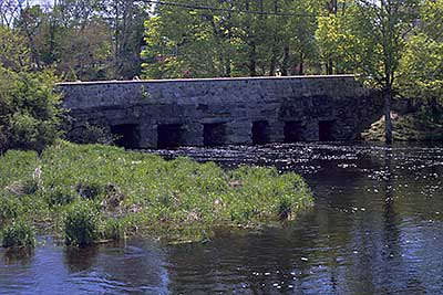 The Historic Nemasket Street Bridge from Oliver Mill Park
